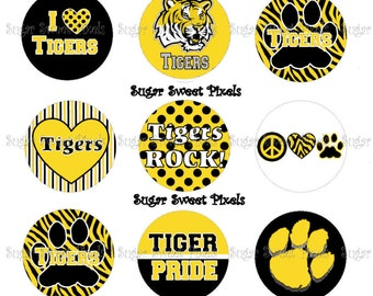 INSTANT DOWNLOAD Yellow Gold  Tigers  School Mascot 1 inch Circle Bottlecap Images 4x6 sheet