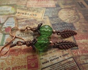 Copper Boho Green Czech Glass Earrings