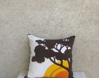 """Linen Decorative Pillow Deer Sun, Throw Brown White Orange Cushion, Indoor Outdoor Home decor, Nature Color accent, Home Living Gift, 16"""""""