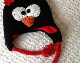 Fleece Lined Penguin Hat with Pompon, Child Animal Hat, Penguin Hat, Crochet Baby Hat, Winter Hat, Baby Hat, Newborn Hat, Child Hat