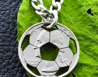 Soccer Necklace, soccer mom, Special Quarter, hand cut coin