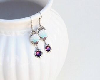 Filigree Sea Shell Earrings, Purple Shell earrings, Gift For Her