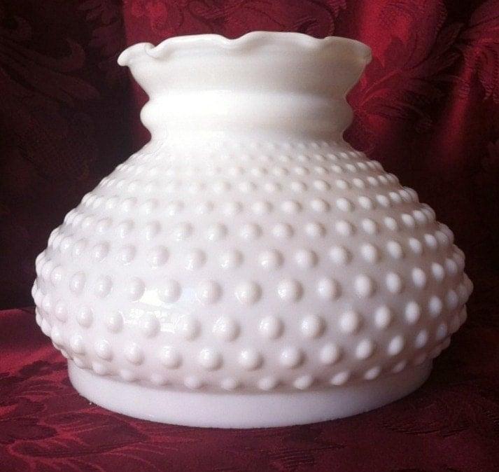 Lg Antique MILK GLASS Fenton Hobnail Parlor Lamp by OldMillVintage