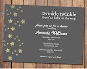 twinkle twinkle baby shower invitations, gender neutral baby shower invitation, modern baby shower invite, Digital, Printable file (item306)