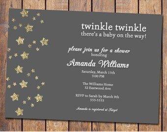 twinkle twinkle baby shower invitations, gender neutral baby shower invitation, modern baby shower invite, Digital, Printable file (item306)