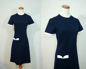 vintage retro navy and white mod dress with scalloped pocket