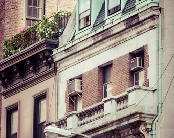 Old Rustic Vintage New York City Architecture Art Print Photography NYC Building Mint Green Rooftops Windows Rustic Vintage Industrial Deco