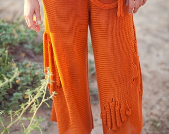 Energize summer orange pants - Knitted soft and loose - 079