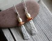 Asian Temple Earrings- Silver Earrings, Pearl Earrings, Artisan Earrings, Hammered Earring, Asian Earrings