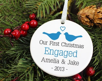 Our First Christmas Engaged Ornament - LoveBirds - Personalized Porcelain Engagement Holiday Gift Ornament- orn142- Peachwik - Custom Colors