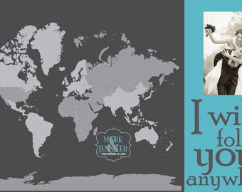 Wedding Gift, Push Pin World Map Personalized, PHOTO MAP, 20X30 Inches, Vacation Art, Travel Map, Gift for Parents/Wife