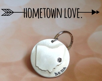 Hometown State Pride Keychain Personalized State Home Ohio Custom Going Away Gift Long Distance Love College Student Gift