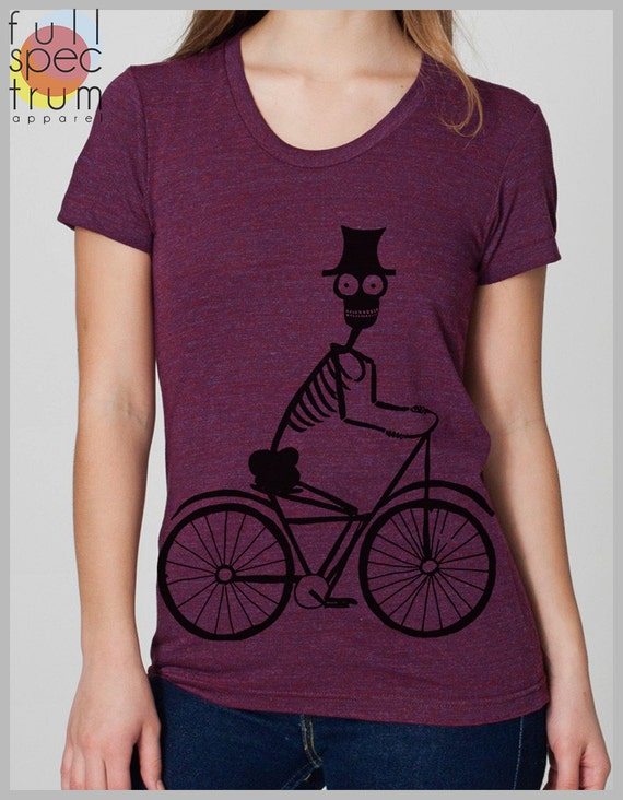 Women's t Shirt Skeleton Biker American Apparel Bicycle Tee Shirt Clothing S, M, L, XL 8 COLORS