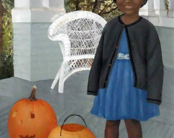 My First Halloween Ever.  OOAK oil painting, large portrait of little girl with pumpkin / jack o lantern on front porch