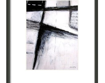 """Black and White Minimal Abstract Art - Print of Original Art by Laura Gomez - 9X12"""" A-00022"""