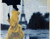 YELLOW RAIN  Print Poster Mixed Media Painting wall decor illustration Paris Eiffel tower fashion dictionary print
