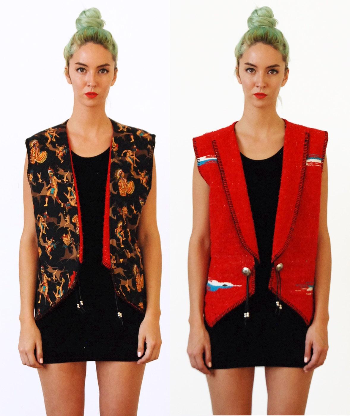 Vintage 80s Reversible Serape Blanket Vest Free Shipping