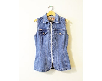 EXPRESS Zippered Denim Vest + Vintage 90s Grunge Denim Vest + Faded Distressed Denim Vest + Blue Jean Vest + Fitted Vest + Y2K +