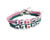 Custom Couples Bracelets Set of 2 Pink and Green Hemp bracelets