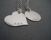 Couples Necklace, Hand Stamped Necklace, Personalized Jewelry, Couples Gift, Heart Necklace, Circle Necklace