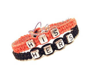 His Hers Bracelets, Couple Bracelet, Boyfriend gift, Girlfriend Bracelet, Coral Black, Anniversary Gift, Personalized jewelry