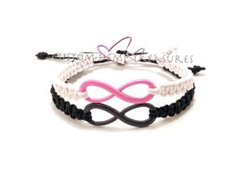 Colored infinity Bracelets for couples Pink Black White Boyfriend Girlfriend Bracelets Lovers Jewelry Personalized Bracelets