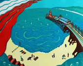 Red Arrows, Bournemouth - Signed Original Linocut Print Edition of 30