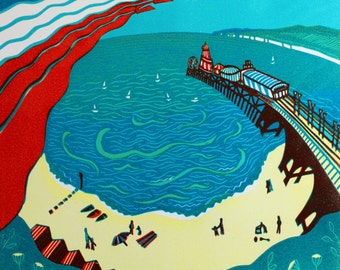 Red Arrows, Bournemouth - Signed Original Linocut Print Edition of 30 plus Artist's proofs
