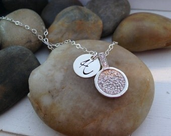 Pave Disc with Personalized Hand Stamped Initial Charm - Hand Stamped - Custom Jewelry