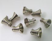40 Vintage 5mm Tiny White Metal Coiled Wire Cone Trumpet-Shaped Beads Bd1013