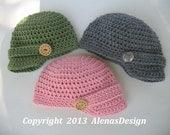 Crochet Pattern 088 - Visor Beanie with Detachable Flower - from 0-3 months to Teen/Adult - Boys - Girls -Teen - Men - Women - Visor Hat