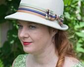 Sybil Fedora Hat in Beige  Fur Felt Velour with Tailored Grosgrain Ribbon