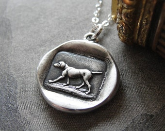 Dog Wax Seal Necklace - antique French wax seal charm jewelry with hunting dog canine by RQP Studio