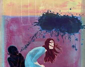 Urban Fantasy, Dark Illustration Print by Alicia VanNoy Call