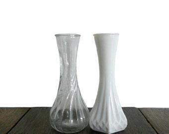 Vintage Vase Milk Glass and Transparent Glass - Hoosier Glass Bud Vases- Set of 2