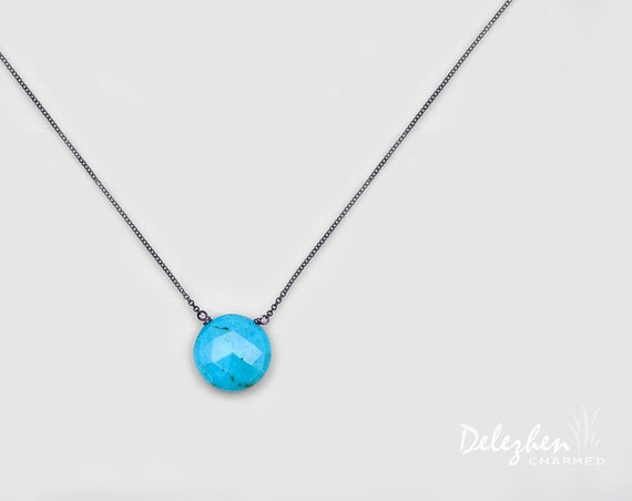 Turquoise necklace - Oxidized Silver Necklace - Gemstone necklace - December Birthstone necklaceCyber Monday Sale -
