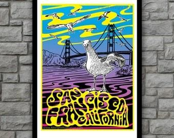 Psychedelic San Francisco - Golden Gate Bridge Art Poster