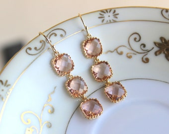 Champagne Blush Earrings Peach Square Earrings Gold Plated - Champagne Bridesmaid Earrings - Bridal Earrings - Blush Wedding Jewelry
