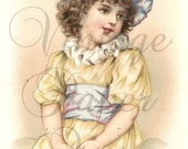 Pretty Girl in Yellow Dress & Straw Hat Antique French Chromo Trade Card from Vintage Paper Attic