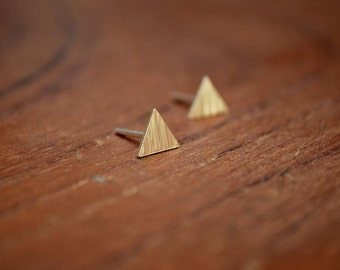 Sterling Silver Earrings, Triangle, Textured, Modern, Contemporary, Ear Studs, Geometric