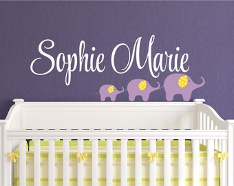 Wall Decals Nursery - Name Wall Decal - Elephant Wall Decal -   Elephant Kids Wall Art - Personalized Decal
