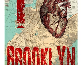 "I heart Brooklyn I Love Brooklyn Map Page Background 8x10"" print"
