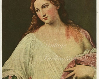 Antique Titian Art Print 1940s, Flora, color lithograph print