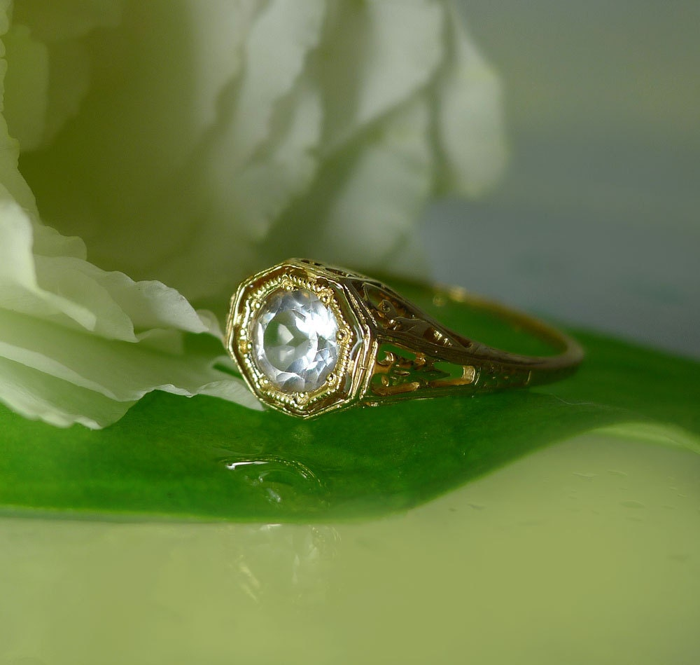 antique style engagement ring gold engagement ring herkimer