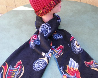 """Handmade Knitted Hat w/ Handmade """"Love to Ride"""" w Motorcycles Fleece Scarf, Matching Set, Black n Red"""