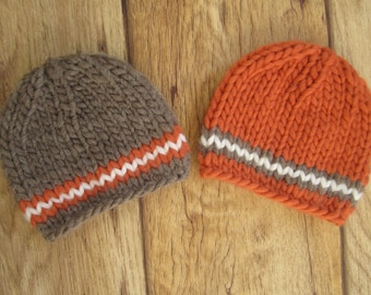 Newborn Orange and Brown Chunky Wool Knit Beanies  - Boy Twin Set - Ready to Ship Autumn Fall Newborn Photography Prop, RTS Photo Prop