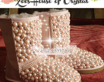 New Year Sales 20% off - Winter Promotion Bling and Sparkly Pink Pearls SheepSkin Wool BOOTS w shinning Czech or Swarovski Crystals