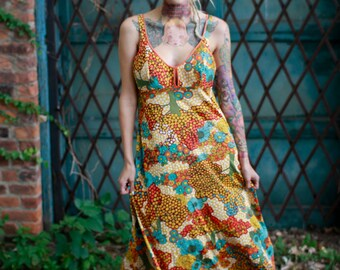 Vtg 60s Psychedelic Maxi Dress / Mod Tree Print