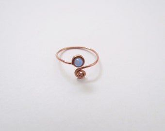 Copper Beaded Ring with synthetic opal. Open Wire Rings. Skinny, delicate minimal spiral ring. Thumb ring. October opal everyday Jewelry