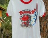 Vintage 80s Westport 150th Pioneers' Run Ringer T-Shirt Men's S / Women's M